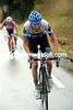 Hesjedal has attacked, caught Ignatiev and heads to the last five-kilometres of the ascent...