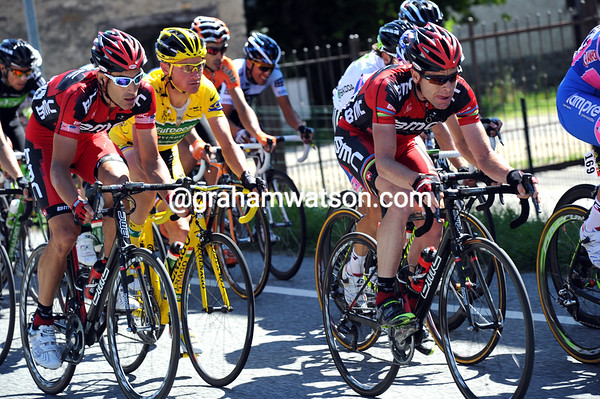 Cadel Evans is safely in this group ahead of George Hincapie and Voeckler...