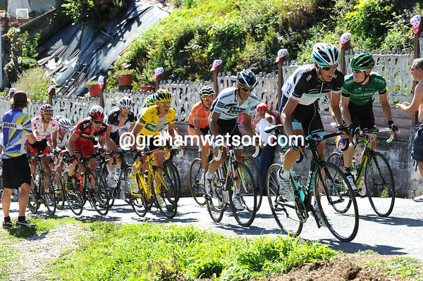 Andy Schleck is winding up the pace at the head of the favourites' group...