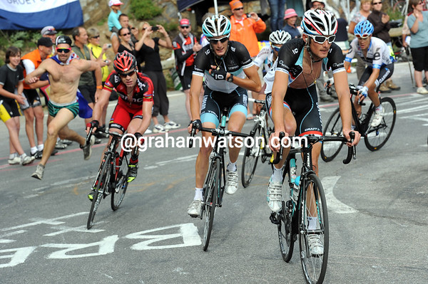 The overall contenders are controlled by the Schleck brothers - Evans, Riblon, Danielson and Hesjedal are in there too...