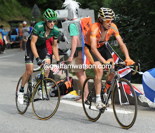 Sanchez has caught Rolland and the pair go after Contador...
