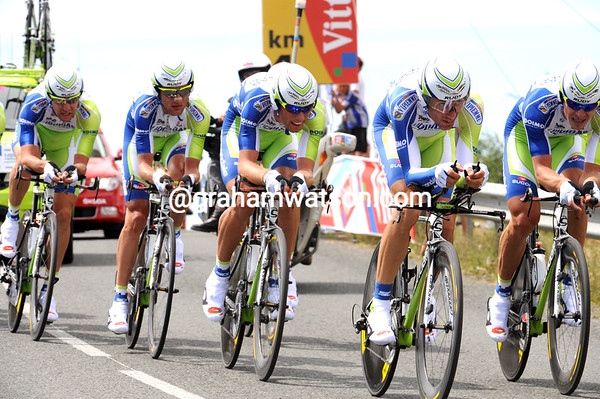 Ivan Basso did his best at the front for Liquigas, but they ended in 15th place, 57-seconds down...