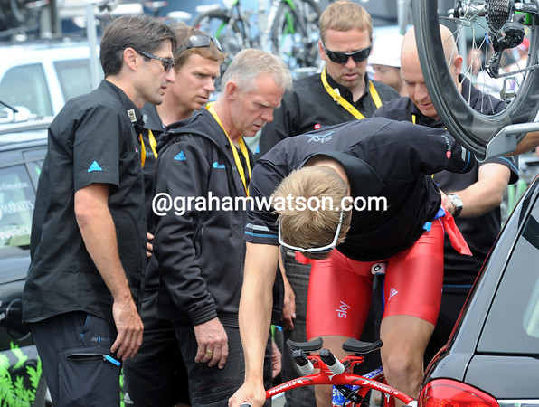 There was cause for concern at Team Sky after Edvald Boasson Hagen's bike was judged to be illegal and needed modifying...
