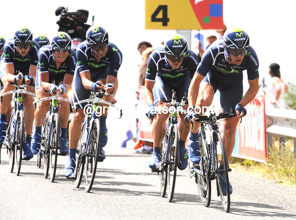 "Team Movistar looked fast but also ragged - they took 19th place, 1' 09"" down..."