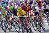 Cadel Evans is close to the front of the peloton as it comes back from the Arc de Triomphe...