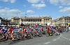 The Tour de France streams across the Place de la Concorde on its entry into Paris...