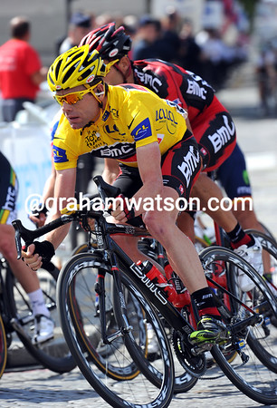 Cadel Evans looks concentrated enough as the last few laps begin...