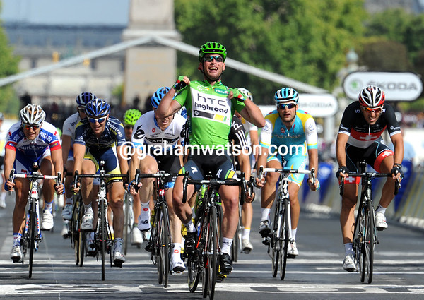 Yes, Cavendish has won stage twenty-one and secured the Green Jersey as well...!