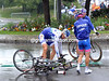 One is Laurent Mangle, the other is Damiano Cunego - and this is just the neutralised section to get out of Lorient..!