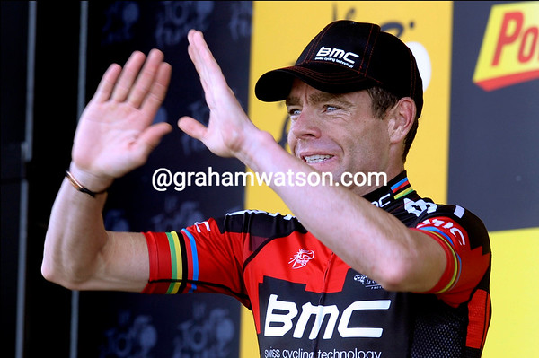 Cadel Evans is the winner of stage four - but Hushovd has done enough on the last hill to stay in the race-lead...
