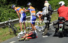 The first in a series of nasty crashes involves Robert Gesink and Jani Brajkovic...
