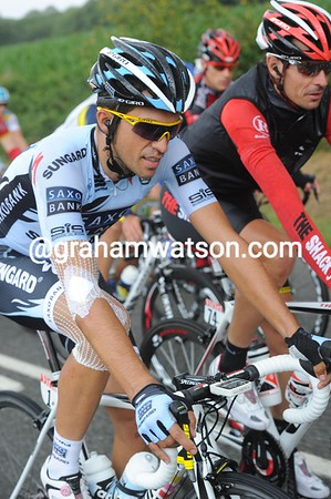 A crash victim yesterday, Alberto Contador is well bandaged today...