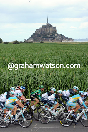 The peloton gets within a few kilometres of Mont St Michel in Normandy...