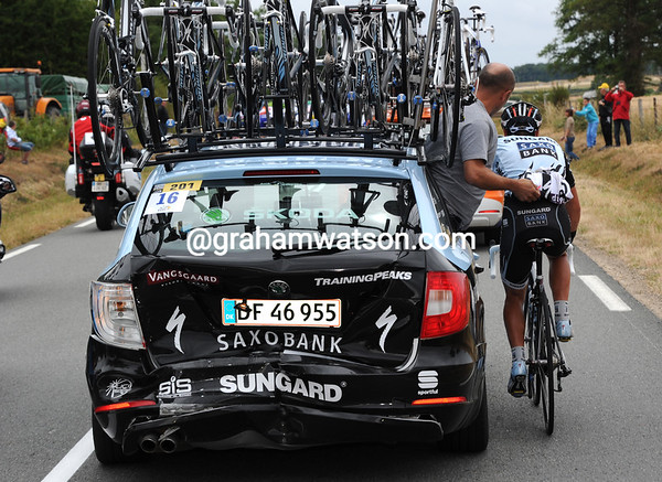 Richie Porte is also getting serviced - but it's his Saxo Bank car that really needs seeing to..!