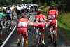Cofidis are in control of their team leader - Dumoulin pushes Buffaz who's pushing Rein Taaramae...