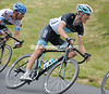 Andy Schleck looks tense as he descends the penultimate climb...