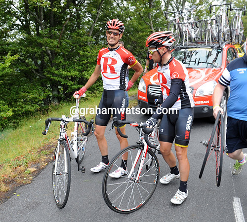 Andreas Kloden is not laughing - he's been caught in a crash on the wet descent...