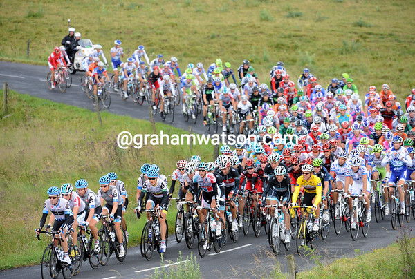 Garmin-Cervelo are in control on the rolling hills of the Cantal area...