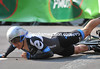 ...gone - Talansky makes a painful landing, but recovers to finish the stage...