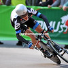 ....going - Andrew Talansky loses grip on a tight bend...