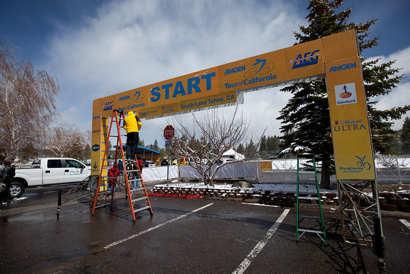 Two hours before the resheduled start, sunny skies were overhead as preparations for the stage were underway.