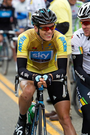 Ben Swift is all smiles as he starts the day in the race leaders Golden jersey.
