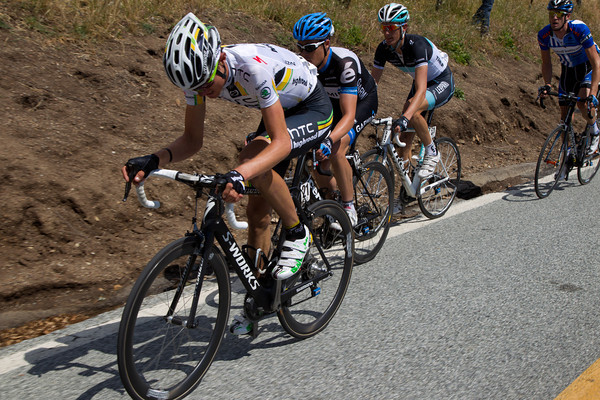 Van Garderen, Danielson and Andy Schleck along with Rory Sutherland are trying to limit their losses on Sierra Road.