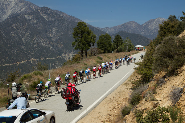 The peloton is now down to about 30 riders as RadioShack continues to drive the pace on the way up Glendora Mountain, the second big climb of the day.