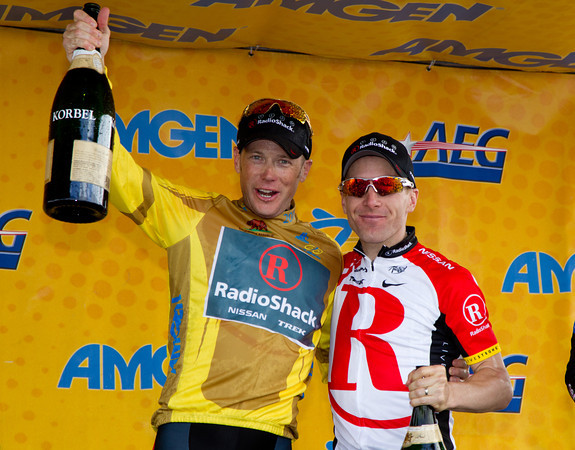 Chris Horner and Levl Leipheimer of RadioShack celebrate their one two finish in GC in the 2011 Amgen Tour of California.