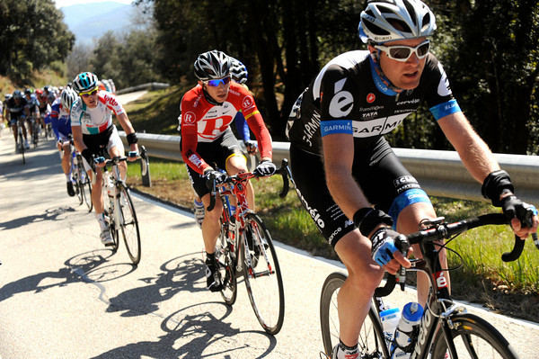 Thomas Peterson is stretching the peloton out on a climb - he'll eventually get across to a six-man escape...