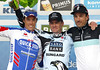 Nick Nuyens shares the winner's podium with Fabian Cancellara and Sylvain Chavanel...