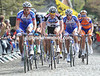 The peloton is not exactly racing hard as it crosses the summit of the Kruisberg after 150-kilometres...