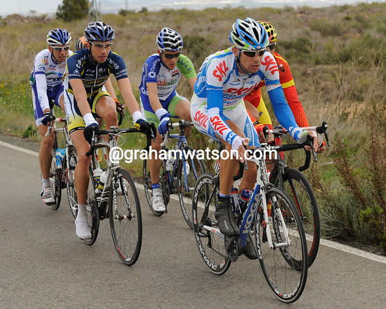 Six men have been away from the start and maintain a 5-minute lead - led by Albert Timmer...