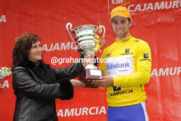 Michael 'Bling' Matthews wears the first leader's jersey of the 2011 Tour of Murcia...