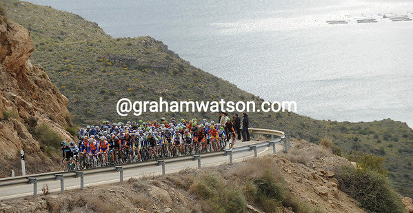 The peloton climbs away from the sea to start its pursuit towards the finish - the escape is almost caught now...