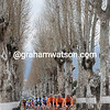 An alleyway of trees guides the Euskatel-led peloton...