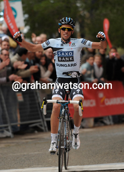 Alberto Contador wins stage two, and seems rightly happy about that..!