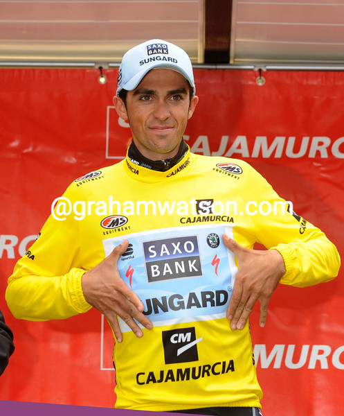 For now, Alberto Contador is the new race-leader of the Tour of Murcia -  but Menchov is close enough to win after tomorrow's TT...