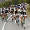 Team Geox now show their colours at the front, and on the climb - led by Carlos Sastre...