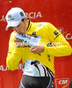For my sponsor - Contador kisses his winner's jersey in Murcia...