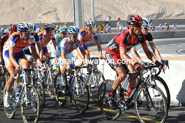 Manuel Quinziato takes over at the front for BMC - the field is spread out over 500-metres now...