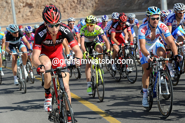 Taylor Phinney is setting the early pace on the climb - the new boy is showing his class already..!