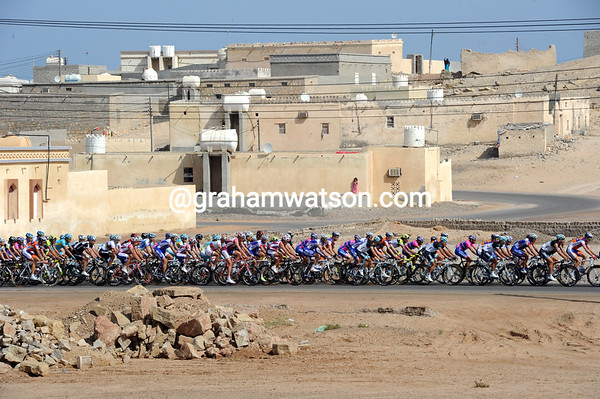The peloton takes in the delights of Ras Riways, 62-kilometres into the stage...