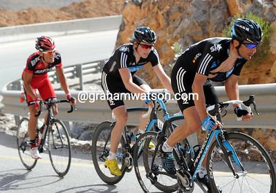 Flecha is pacing Boasson-Hagen in pursuit of Vande Velde, but Van Avermaet is still with them...