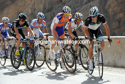 Jacob Fuglsang starts the hostilities as the steep ascent begins - he has Gesink, Albasini, Boasson-Hagen and a few others for company...