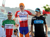 Robert Gesink shares the podium with Giovanni Visconti, and Edvald Boasson-Hagen...