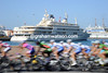 The Sultan of Oman's yacht looks down on the Tour of Oman...