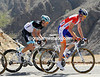 Robert Gesink is to the fore, he has Maxime Monfort on his wheel on the climb...
