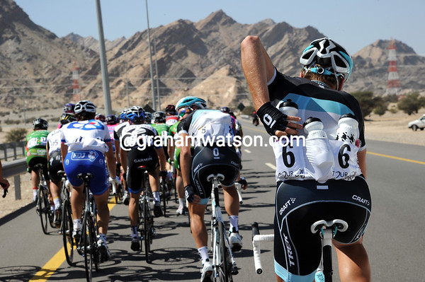 Joost Posthuma is filling up with water on a very hot day in Oman...