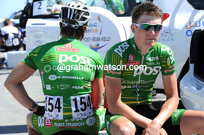 Have these two lads from An Post-Sean Kelly had a falling out..? No, they're just waiting for their bikes to arrive...